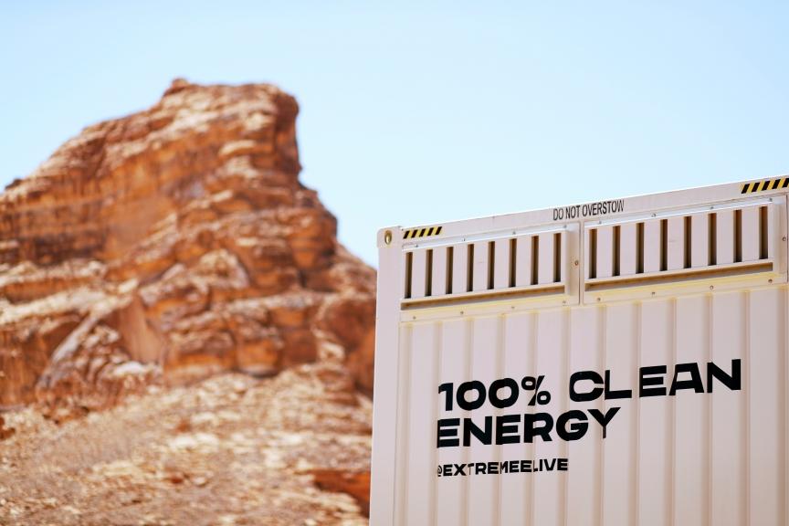 ALULA, SAUDI ARABIA - APRIL 01: AFC Energy containter during the Desert X-Prix at AlUla on April 01, 2021 in AlUla, Saudi Arabia. (Photo by Sam Bloxham / LAT Images)